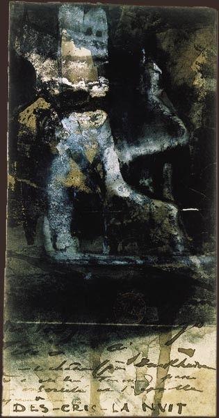 """Victor Hugo, """"Des cris dans la nuit"""".  Encre brune et lavis, fusain et gouache, sur papier à dessin, collé sur un feuillet d'album 1856. BNF Paris. Au dessous du dessin, Victor Hugo a inscrit cette mention : Burgrave des Vosges Hugo tête d'aigle. Ce château, près de Durkheim où a été tué Turenne, passe pour ensorcelé et s'appelle aujourd'hui """"Des cris dans la nuit""""."""