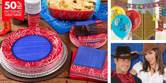 Western Party Supplies - Western Theme Party - Party City: These were the only paper ware they had, but they are the right colors.
