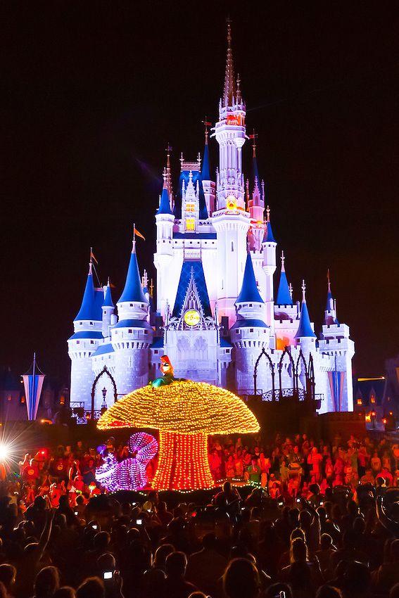 Alice in Wonderland, Disney's Electrical Parade (with Cinderella Castle in back), Magic Kingdom, Walt Disney World, Orlando, Florida USA - Photo by Blaine Harrington III