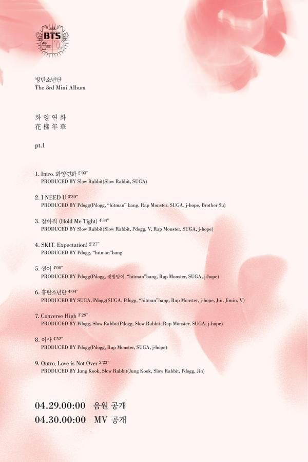 BTS Official tweet - track list of new album - In the Mood of Love PT 1 - Pink Version