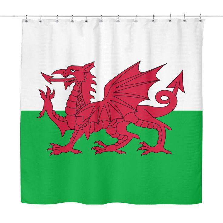 WALES FLAG SHOWER CURTAIN Y1