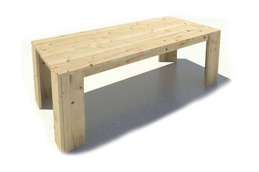 Eettafel van steigerhout, bouwtekening voor een huiskamertafel.