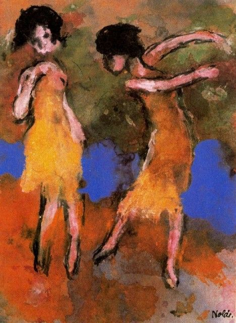 TWO DANCING GIRLS Emile Nolde (German~Danish 1867~1956) | He was one of the first Expressionists, a member of Die Brücke.