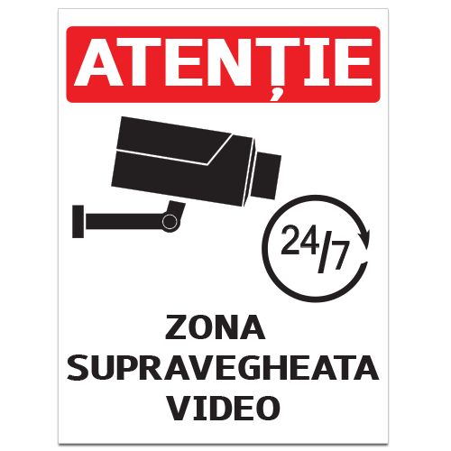 Indicator Zona supravegheata video    Indicator de atentionare, cu mesajul Atentie! Zona supravegheata video 24/7 si imaginea unei camere de supraveghere  Indicatorul este realizat din material Hipps.