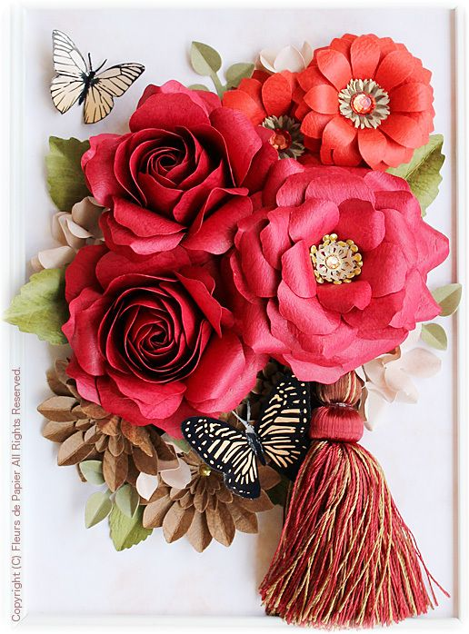 $Fleurs de Papier ~クラフトパンチや花紙で作る立体のお花いろいろ~-クラフトパンチでバラの花