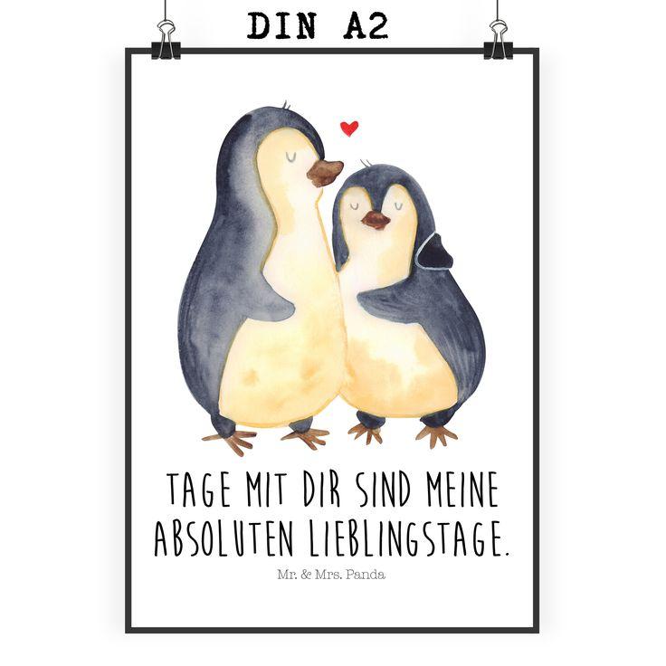 Poster DIN A2 Pinguin umarmend aus Papier 160 Gramm  weiß - Das Original von Mr. & Mrs. Panda.  Jedes wunderschöne Motiv auf unseren Postern aus dem Hause Mr. & Mrs. Panda wird mit viel Liebe von Mrs. Panda handgezeichnet und entworfen.  Unsere Poster werden mit sehr hochwertigen Tinten gedruckt und sind 40 Jahre UV-Lichtbeständig und auch für Kinderzimmer absolut unbedenklich. Dein Poster wird sicher verpackt per Post geliefert.    Über unser Motiv Pinguin umarmend  Unsere…