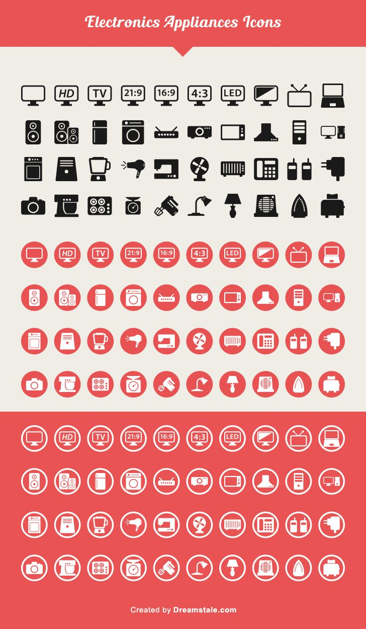 Free Download — 40 Electronic Appliances Icons