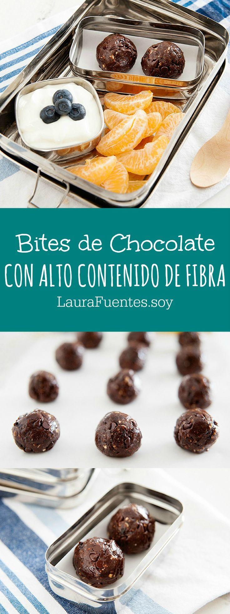 """Estos """"bites"""" o bocaditos de chocolate saludables tienen fibra y proteina haciendolos un snack perfecto despues de la escuela o por la mañana."""