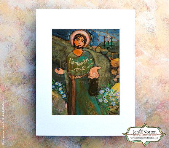 """Saint Dismas, aka """"The Good Thief"""" Catholic Art by Jen Norton. $28.  #TheGoodThief #CatholicSaint  #ReligiousArtForChildren"""