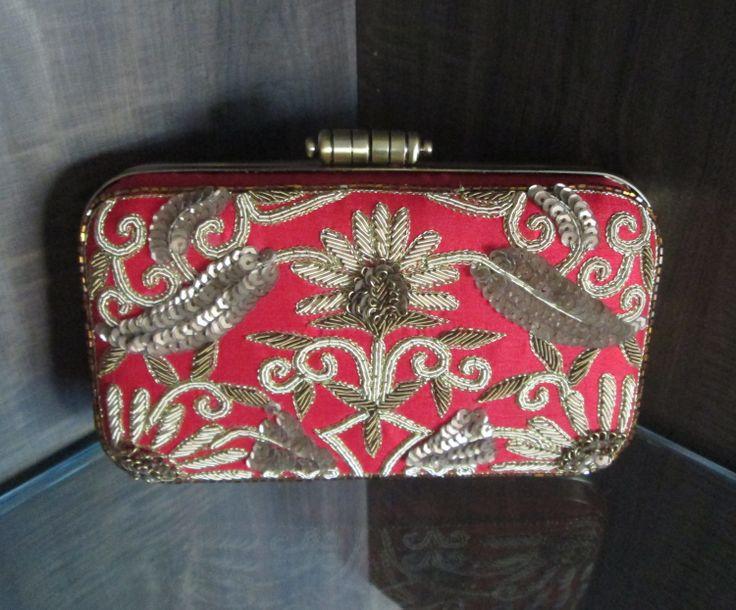 #red #box #clutch #purse #handy #indo #western #fashion