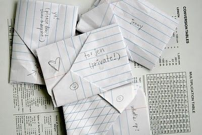 The way we used to write letters & fold them.  WAY BEFORE cell phones.  :)