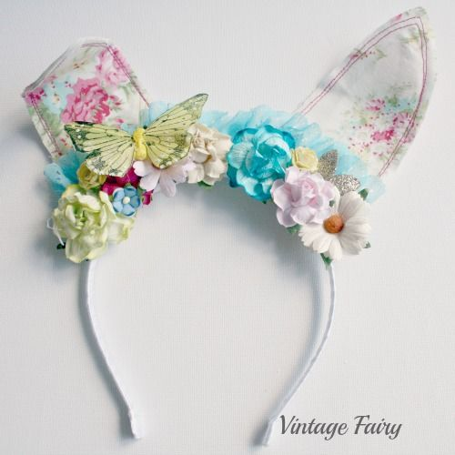 Jemima bunny ears by Vintage Fairy  Available in store now www.vintagefairy.com.au  To fit all ages  Easter bunny ears