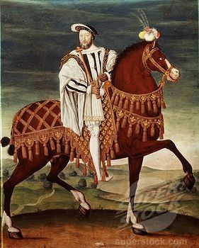 King FRANCIS I of France 1494-1547 on horseback, 16th century French