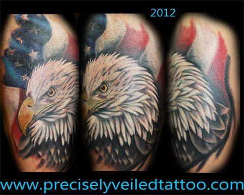 www.facebook.com/preciselyveiledtattoos #baldeagle #eagle #tattoo #american #flag
