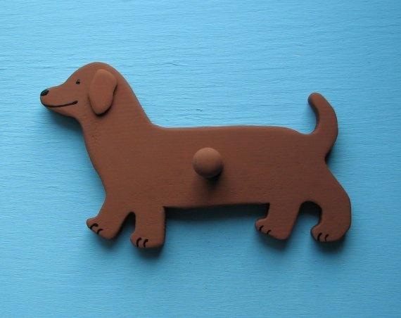 Dachshund Dog Wood Leash Holder