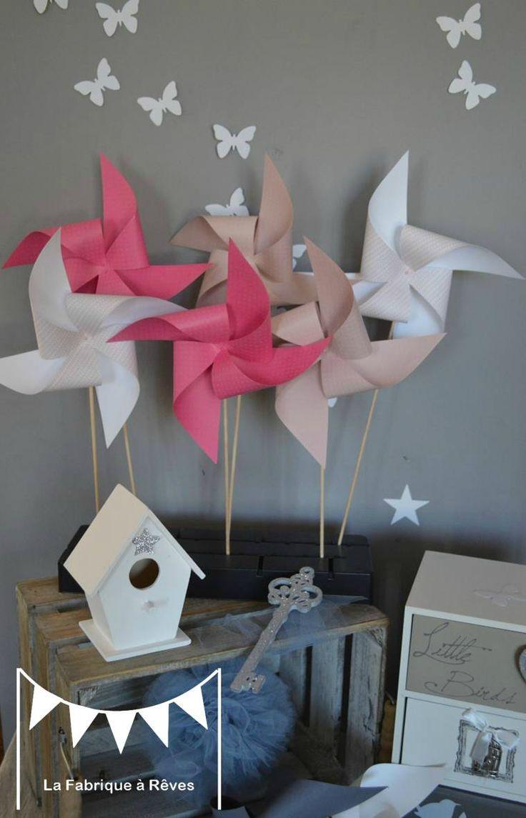 moulins à vent rose pâle rose poudré rose fuchsia rose vif mariage photobooth bapteme baby shower décoration chambre enfant bébé fille
