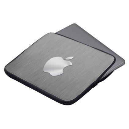 brushed metal apple logo Neoprene Laptop Sleeve - business logo cyo personalize customize diy special