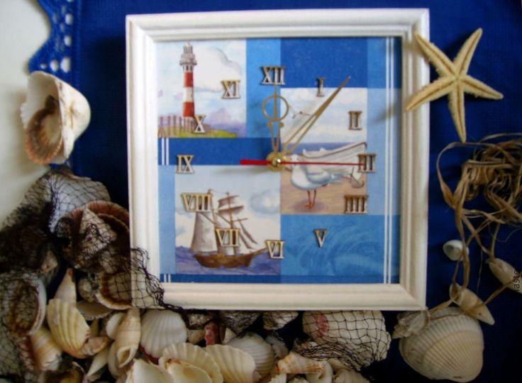 Купить часы настенные путешествие на море - синий, бело-синий, бело-голубой…