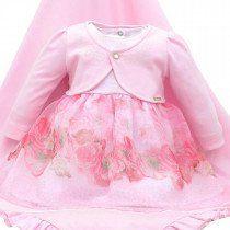 a335b689d Saída de Maternidade Paraiso Floral Vestido e Bolero Rosa | Coleção ...