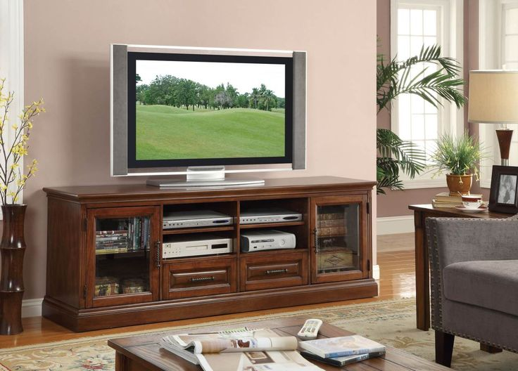 casual brown wood and glass 70u0027 tv stand
