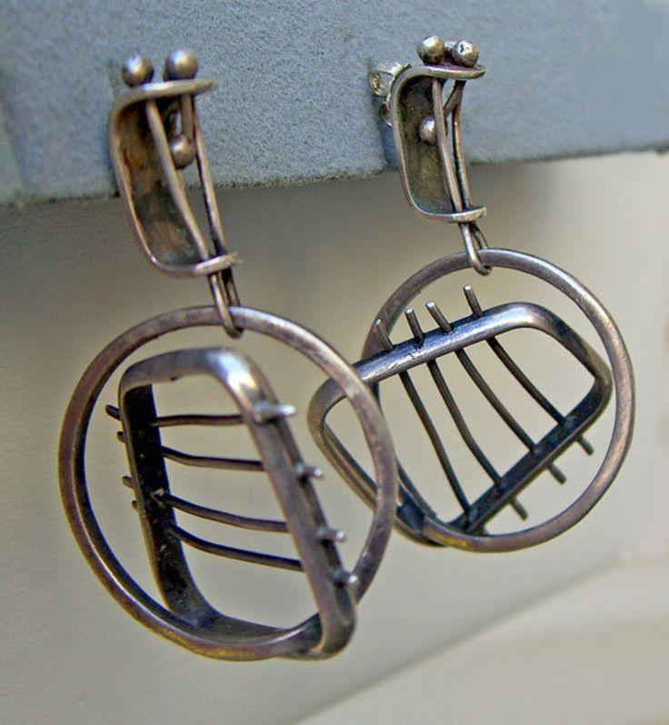 Earrings | Ed Wiener, c1950s. Sterling silver