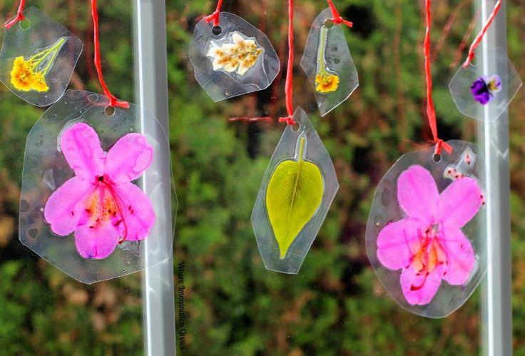 Spring Crafts for Kids: DIY Laminated Nature Suncatchers