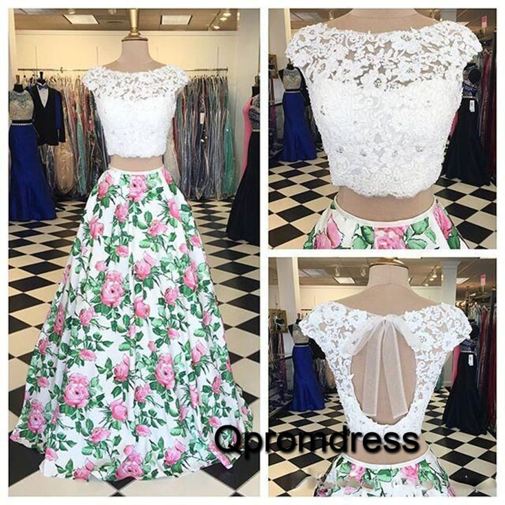 White lace 2 pieces floral printed long prom dress