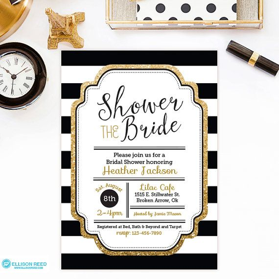 Bridal Shower Invitation with with gold glitter and black and white stripes is sold as a 5x7 digital printable file that you print yourself. (Other
