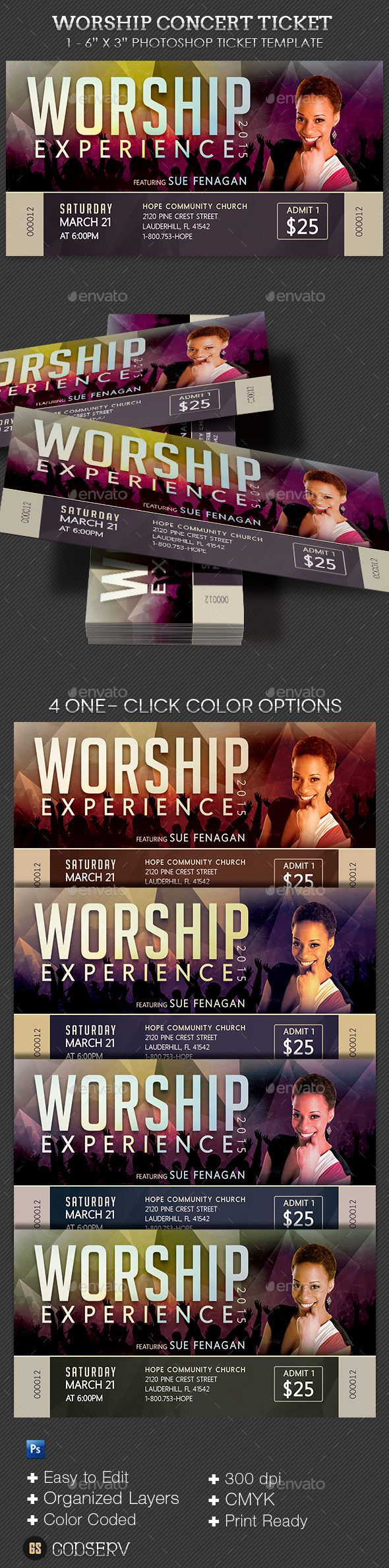 Worship Concert Ticket Template PSD. Download here: https://graphicriver.net/item/worship-concert-ticket-template/10472154?ref=ksioks
