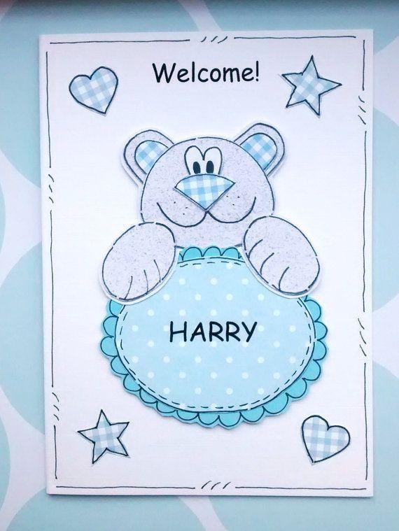 Welcome Baby Boy Card  Blue Bear by CraftyMushroomCards on Etsy, £2.50