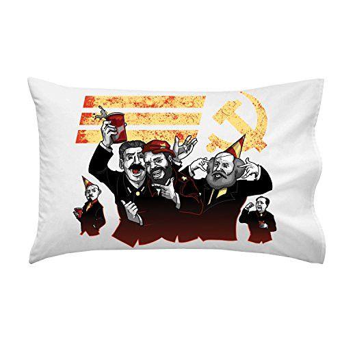 'Communist Party' Funny Pun Famous Communist Leaders Partying - Pillow Case Single Pillowcase