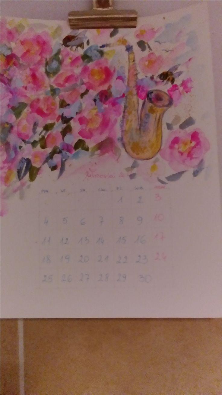 Calendar Roses saksofon honey bee watercolor