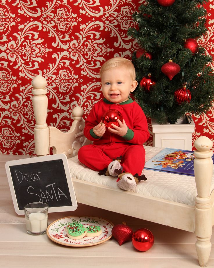 Christmas Portraits - Waiting for Santa -  Toddler Portraits- One year old Boy