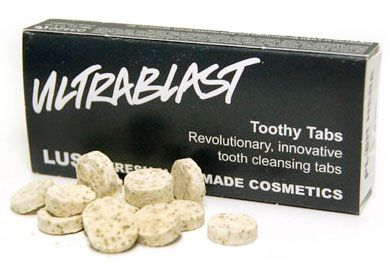 "LUSH toothy tabs in ""Ultrablast""  toothpaste tablets- this one is the best for nighttime, but I really like the Atomic one for the morning."