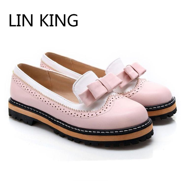 LIN KING Plus Size 34-43 Women Shoes Sweet Bowtie Ladies Flat Heel Spring European Student Round Toe Candy color Ladies Shoes