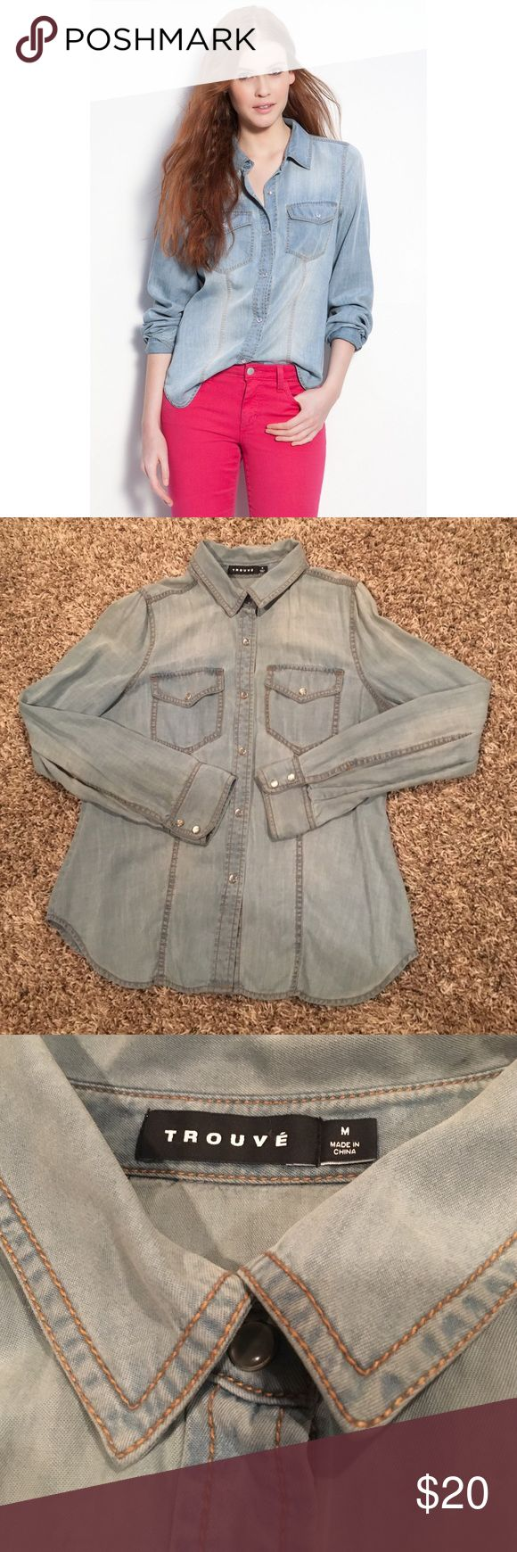 Trouve Denim Shirt Button down light chambray denim shirt. Great condition, worn once. Slim fit. Trouve Tops Button Down Shirts