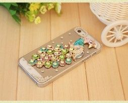 Obal z tvrdeného plastu so šperkom na iPhone 5 / 5S - páv farebný