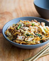 This quick Chinese chow mein recipe has a spicy kick and a nice crunch, thanks to fiery pork and shredded Napa cabbage.