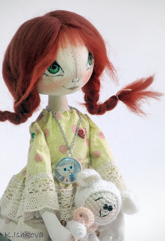 Textile Cloth Art doll Lida fairyred by ArtDollsByKseniya
