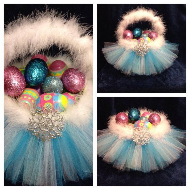 Frozen Inspired Tutu Easter Basket... Also great as a Holder for little girls Hair bows and Accessories... Found on Facebook: www.facebook.com/CaseyCreation All About Tutu's - Superior Work w/ good pricing... Custom work is her specialty... Very creative...