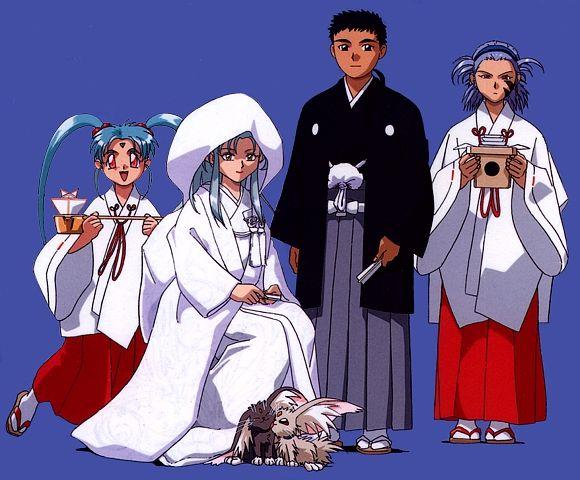 Tenchi wedding from Tenchi Universe. Sasami & Nagi are the bridesmaids lol