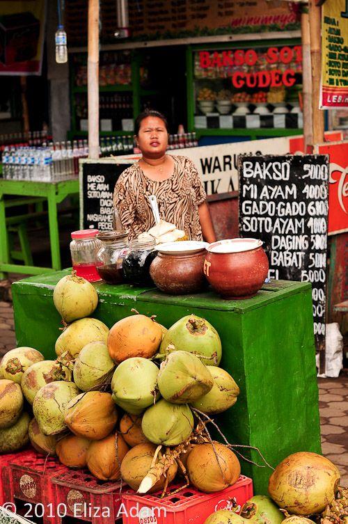 young coconut seller, Borobudur, Parmbanan, central Java, Indonesia