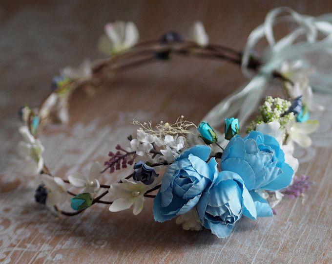 Blue Bridal Crown Flower Girl Halo Blue Head Piece Blue