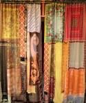 Gypsy curtains - make your own with fabric scraps.  Looking for ways to clear out my collection AND have something to show for it.
