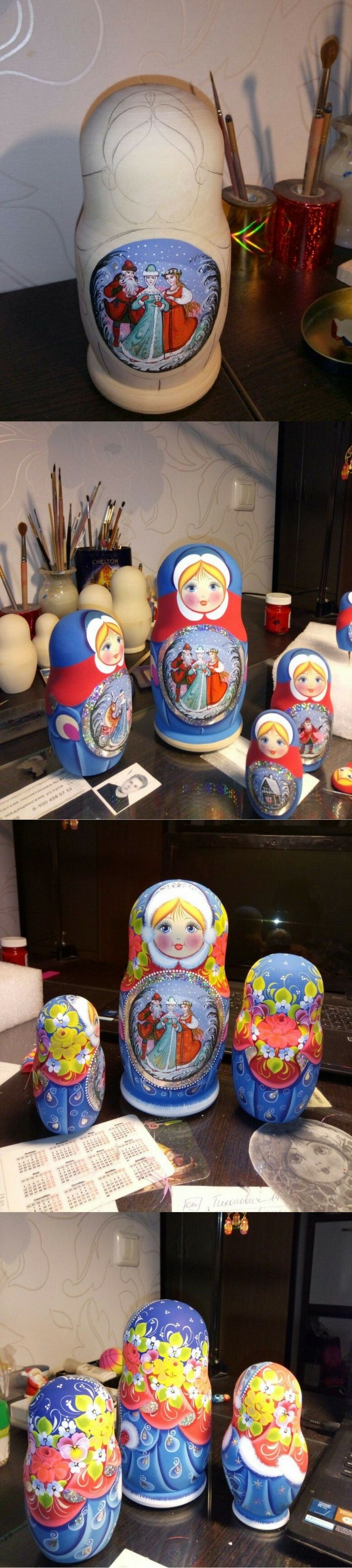 Fairy tale nesting doll creating process