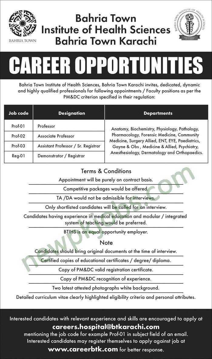 Bahria Town Institute Of Health Sciences Karachi Jobs 2018 Latest