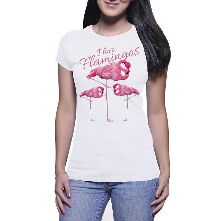 Women's Fine Jersey Short Sleeve Three Pink Flamingos T-Shirt
