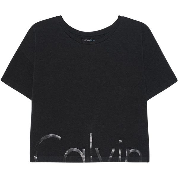 CALVIN KLEIN JEANS CK Logo Black // Cotton T-shirt with label print ($51) ❤ liked on Polyvore featuring tops, t-shirts, pattern t shirt, cotton t shirts, crew-neck tee, logo tees and crop top
