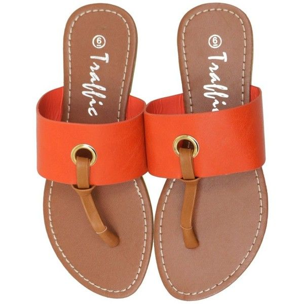 Circle Orange Two-Tone Thong Flip Flop Flat Sandals (€13) ❤ liked on Polyvore featuring shoes, sandals, flat sandals, two tone shoes, 2 tone shoes, flat footwear and orange shoes
