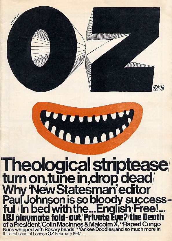 "cMag201 - Oz Magazine cover ""Theological Striptease"" by Paul Johnson / February, 1967 / Issue nº 1"